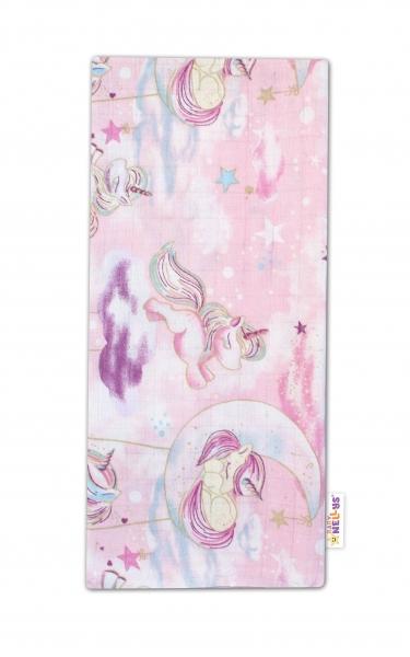 Baby Nellys Kvalitní bavlněná plenka - Tetra Premium, 70x80cm - Jednorožec, růžová