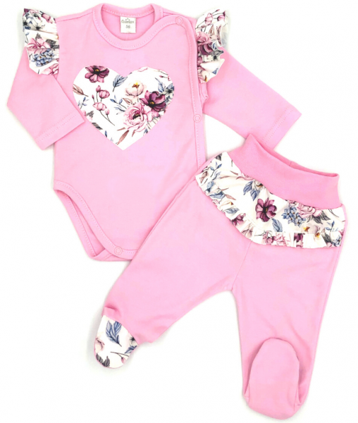 G-baby 2-dílná sada body dl. rukáv + polodupačky Srdce s květy - růžová, vel. 68, Velikost: 68 (3-6m)