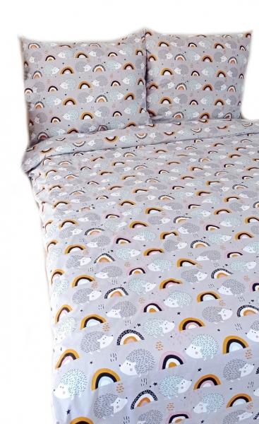 Baby Nellys 2-dílné bavlněné povlečení - Ježek a duha, šedé, 140 x 200/70 x 90