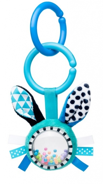 Canpol babies Závěsná plyšová hračka s  chrastítkem - Zajíček, modrá