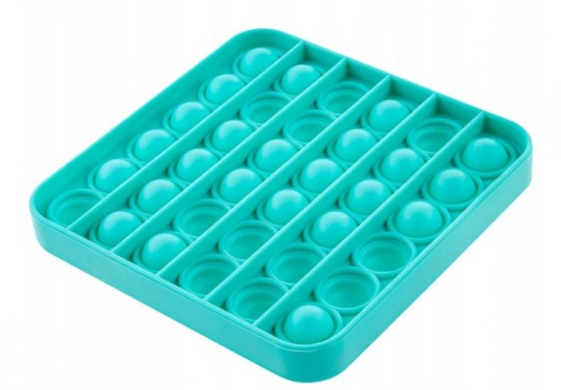Akuku Pop It - Praskající bubliny, silikonová, antistresová spol. hra, čtverec, mátová