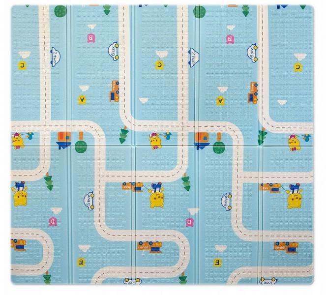 Milly Mally Skládací pěnová podložka,  197 x 177cm - Play Street modrá