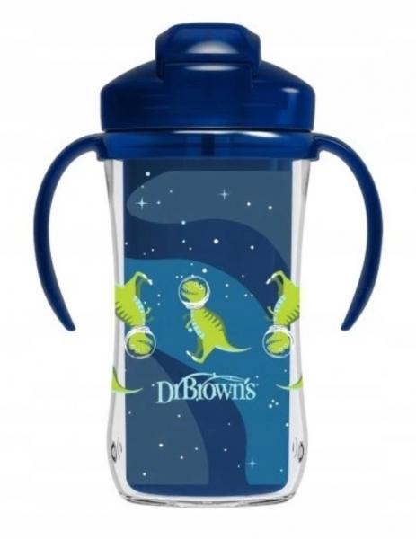 Dr.Browns Termální hrneček se slámkou Dino, Straw Cup, 300ml, modrý