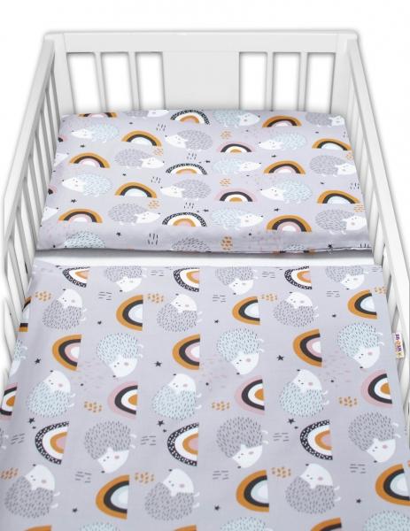 Baby Nellys 2-dílné bavlněné povlečení -  Ježek a duha, šedé, vel. 135x100 cm
