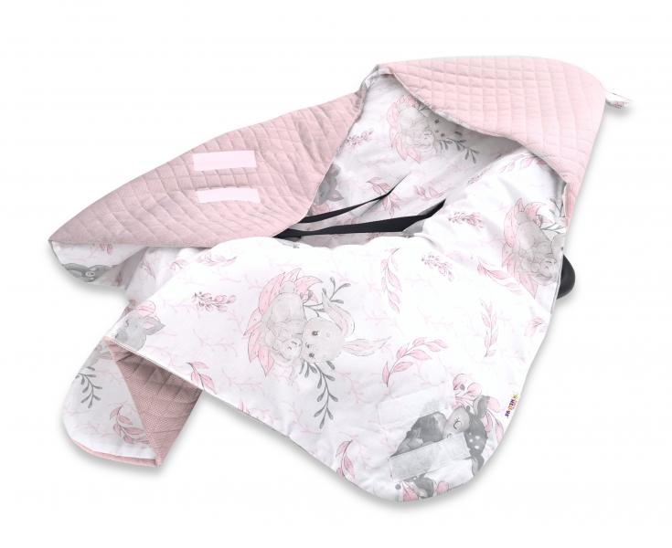 Baby Nellys Oteplená zavinovací deka s kapucí Velvet, 90 x 90cm, LULU natural, růžová