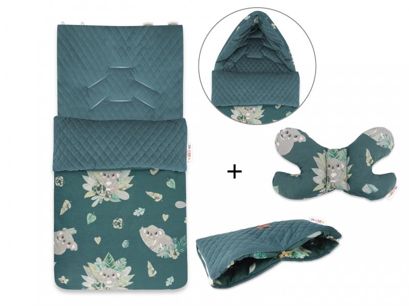 Baby Nellys 3-dílná sada fusak + polštářek + rukávník, Tropical Koala - zelený
