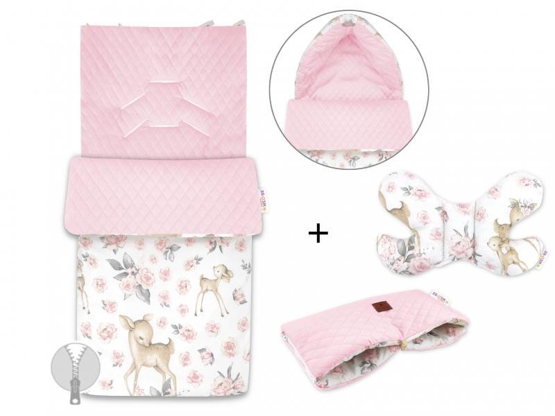 Baby Nellys 3-dílná sada fusak + polštářek + rukávník, Srnka a Růže - růžový