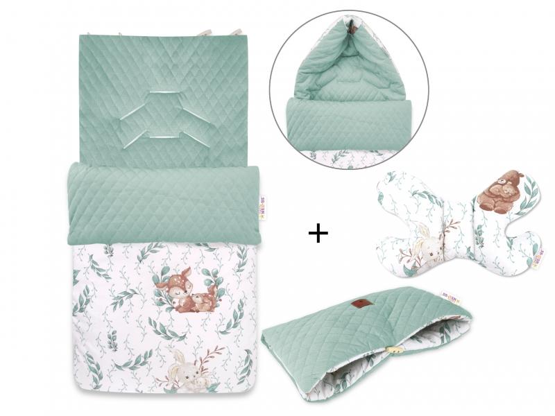 Baby Nellys 3-dílná sada fusak + polštářek + rukávník, LULU Natrual - zelená