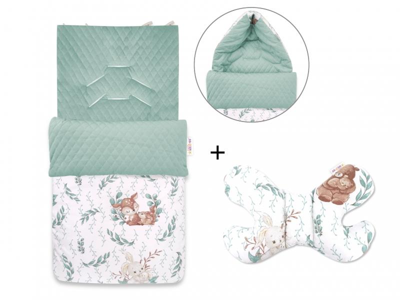Baby Nellys 2-dílná sada fusak + polštářek, LULU Natrual - zelená