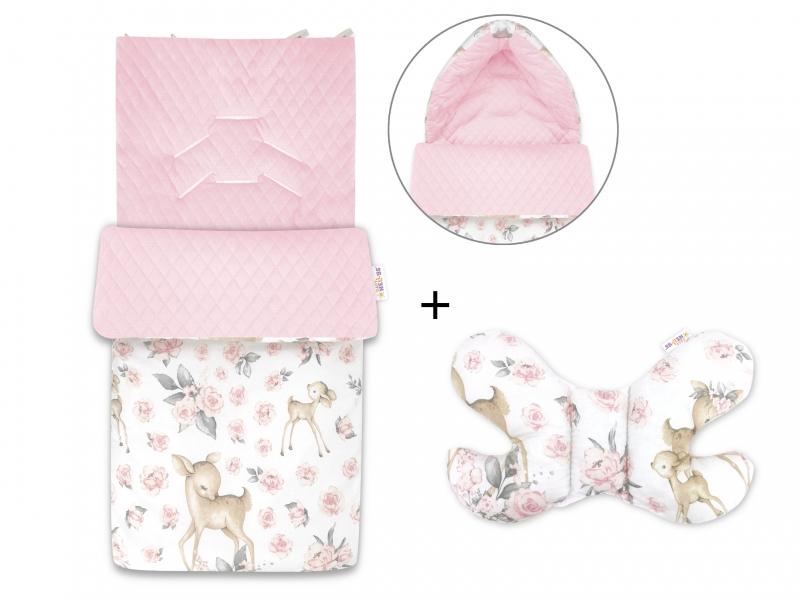 Baby Nellys 2-dílná sada fusak + polštářek, Srnka a Růže - růžový