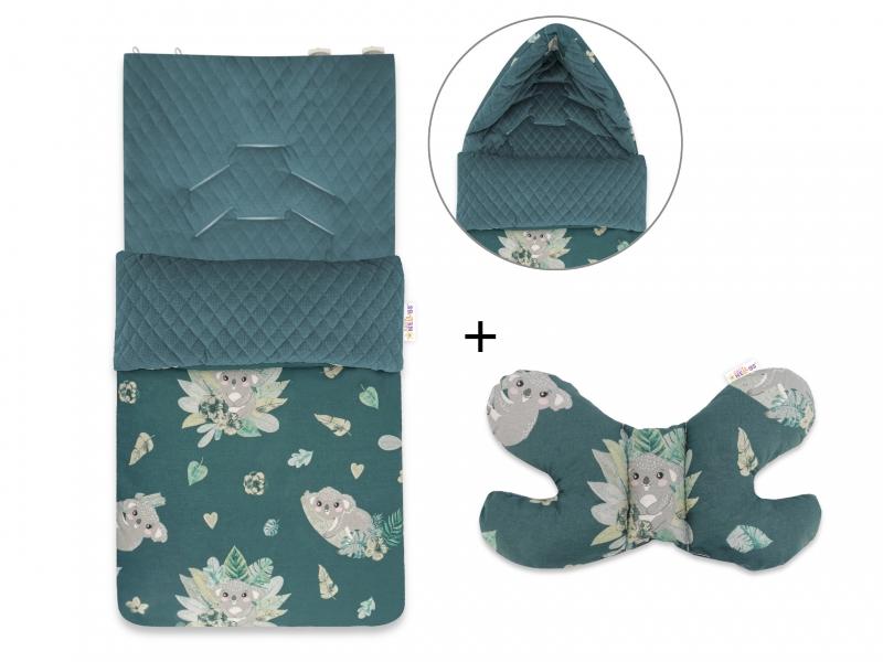 Baby Nellys 2-dílná sada fusak + polštářek, Tropical Koala - zelený
