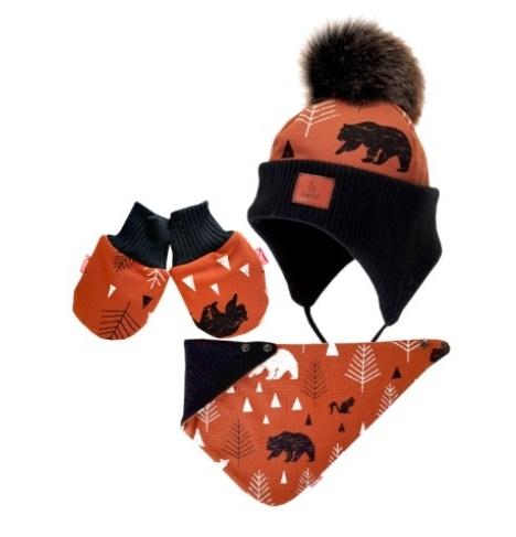 Bexa Zimní čepice na zavazování s rukavičky Balto + šátek - hnědá/černá, vel. 68/80