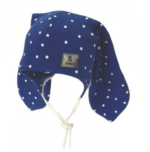 Bexa Bavlněná dvouvrstvá čepice na zavazování Dots - granátová