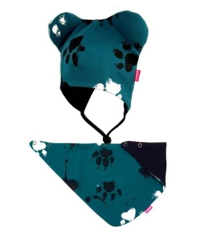 Bexa dvouvrstvá čepice na zavazování s oušky + šátek - Tlapky, petrolejová