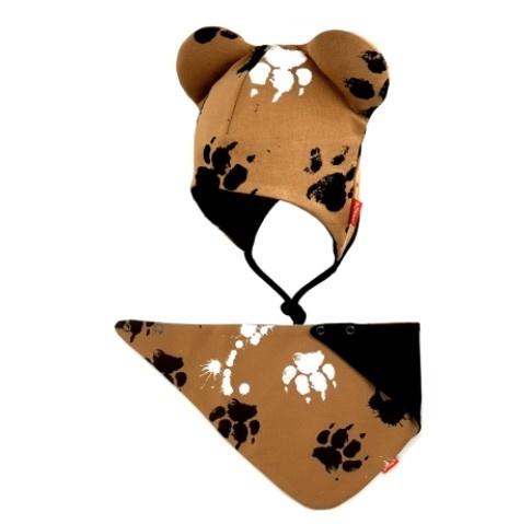 Bexa dvouvrstvá čepice na zavazování s oušky + šátek - Tlapky, hnědá, vel. 62/68