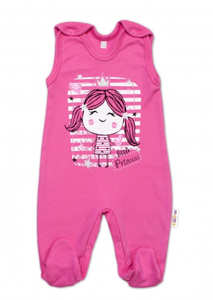 Baby Nellys bavlněné dupačky Sweet Little Princess, růžová