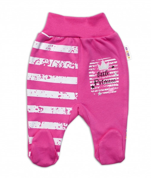 Baby Nellys Bavlněné kojenecké polodupačky, Sweet Little Princess, růžové