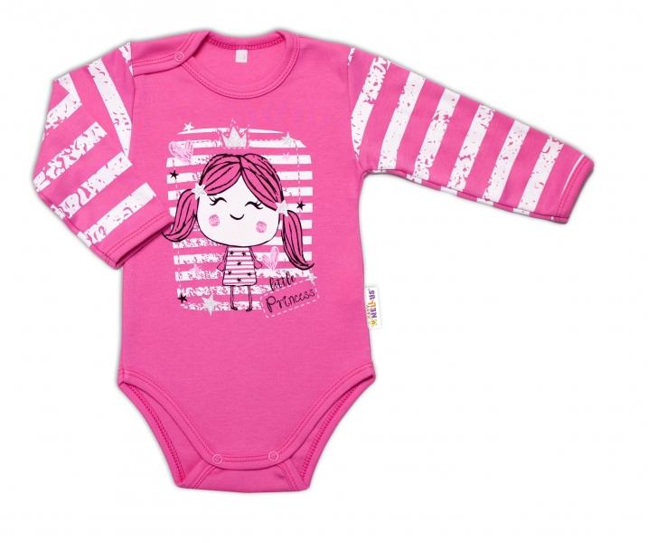 Baby Nellys Kojenecké body, dl. rukáv, Sweet Little Princess, růžová, vel. 86