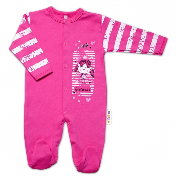Baby Nellys Bavlněný kojenecký overal Sweet Little Princess, růžový, vel. 50