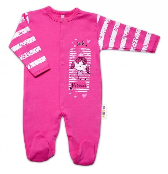 Baby Nellys Bavlněný kojenecký overal Sweet Little Princess, růžový, vel. 62