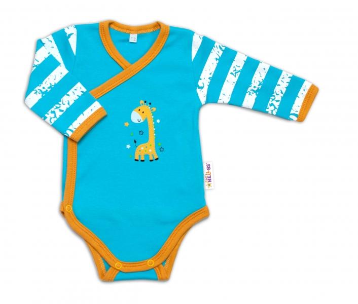 Baby Nellys Kojenecké body, dl. rukáv, zap. bokem Giraffe, tyrkysové, vel. 56