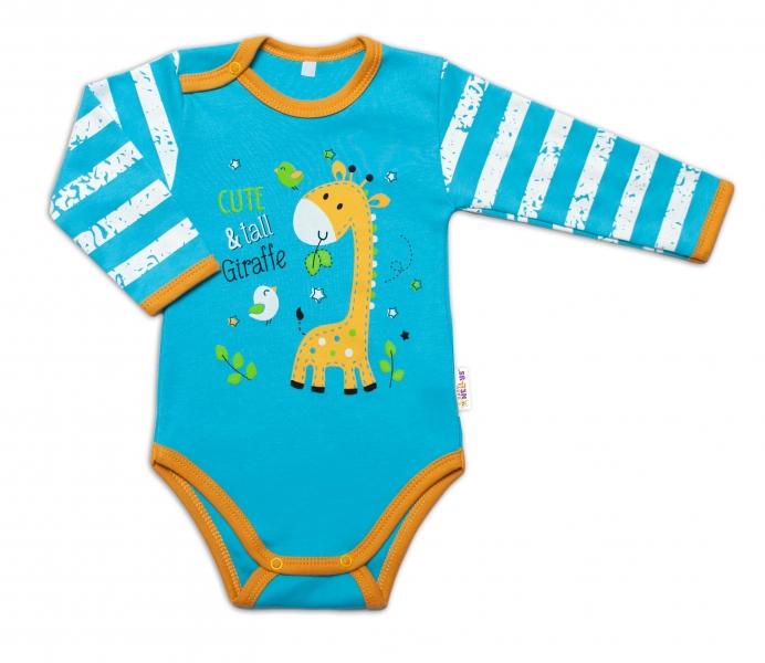 Baby Nellys Kojenecké body, dl. rukáv, Giraffe, tyrkysové, vel. 80