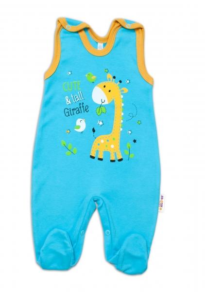 Baby Nellys bavlněné dupačky Giraffe, tyrkysové, vel. 62