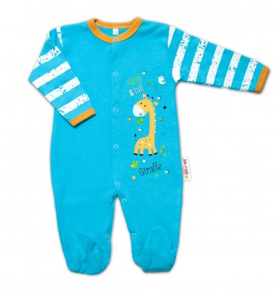 Baby Nellys Bavlněný kojenecký overal Giraffe, tyrkysový, vel. 50