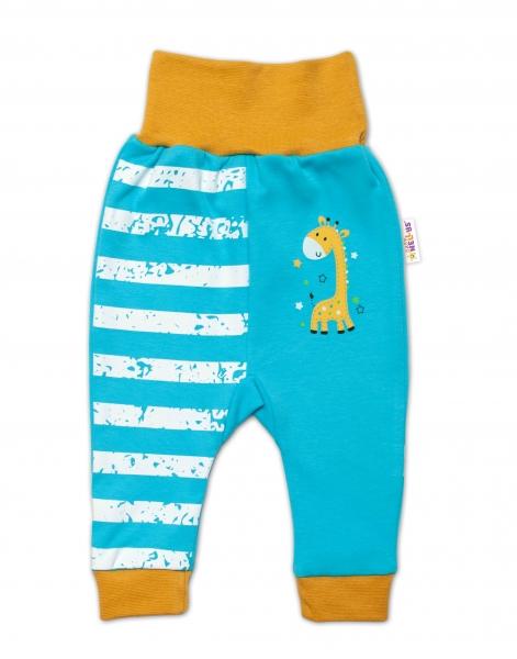 Baby Nellys Kojenecké tepláčky Giraffe, tyrkysové, vel. 74