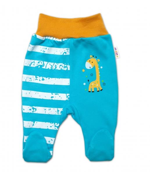 Baby Nellys Bavlněné kojenecké polodupačky, Giraffe, tyrkysové, vel. 74