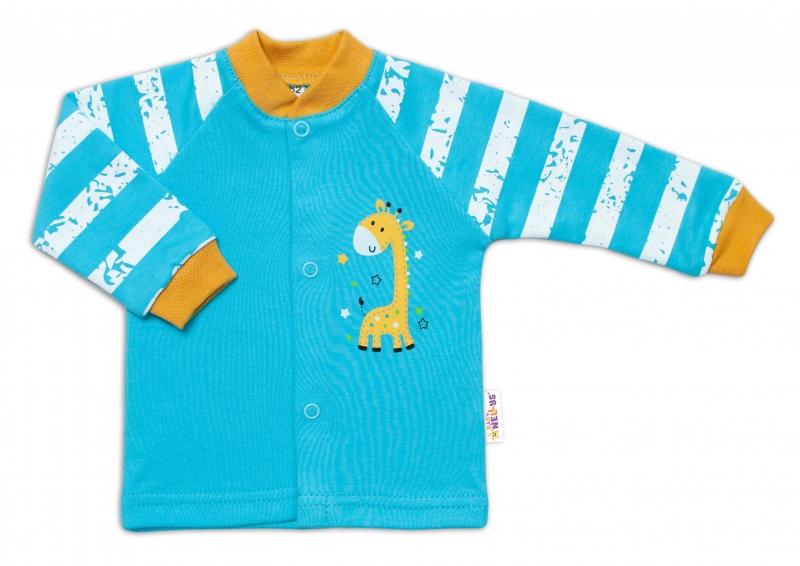 Baby Nellys Bavlněná košilka Giraffe, tyrkysová, vel. 74