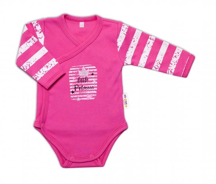 Baby Nellys Kojenecké body, dl. rukáv, zap. bokem Sweet Little Princess, růžová, vel. 68
