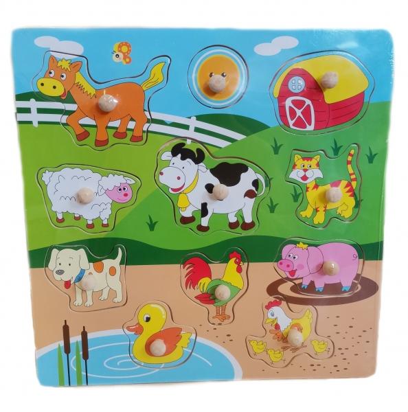 Tulimi Dřevěné zábavné puzzle vkládací - Zvířátka na farmě