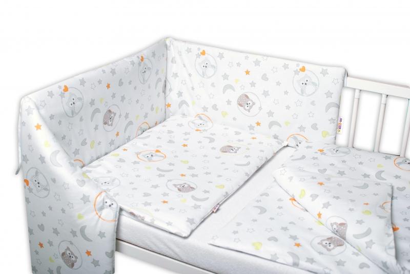 Baby Nellys 3-dílná sada, mantinel s povlečením Sovičky - bílá, 135x100 cm