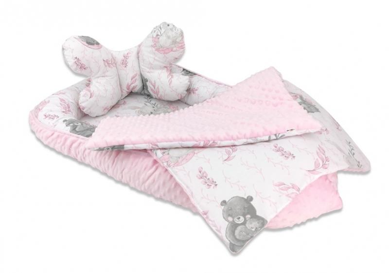 Baby Nellys 3-dílná sada Oboustranné hnízdečko minky 55x75 cm, Lulu Natural - růžová