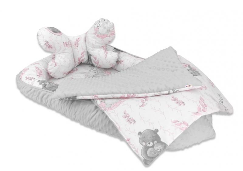 Baby Nellys 3-dílná sada Oboustranné hnízdečko minky 55x75 cm, Lulu Natural - růžová/šedá