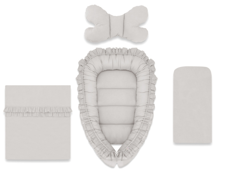 Baby Nellys 4-dílná sada oboustranné hnízdečko 55 x 75 cm, ROYAL - šedá