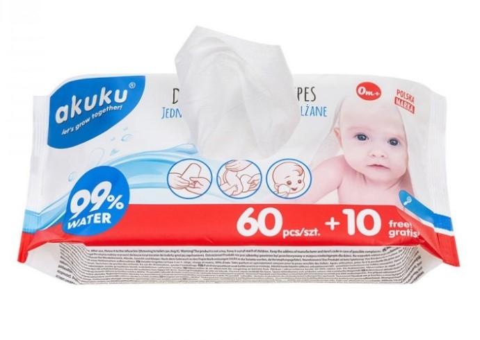 Akuku Dětské vlhčené ubrousky 99% vody, 60 + 10 ks ZDARMA