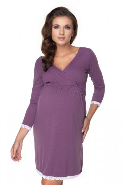 Be MaaMaa Těhotenská, kojící noční košile s krajkou, 3/4 rukáv - fialová, vel. L/XL