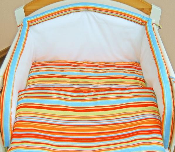 Bavlněné povlečení Darland - Veselé proužky pomeranč s ecru (vzor: Veselé proužky pomeranč s ecru, rozměr: 135x100, 2D)