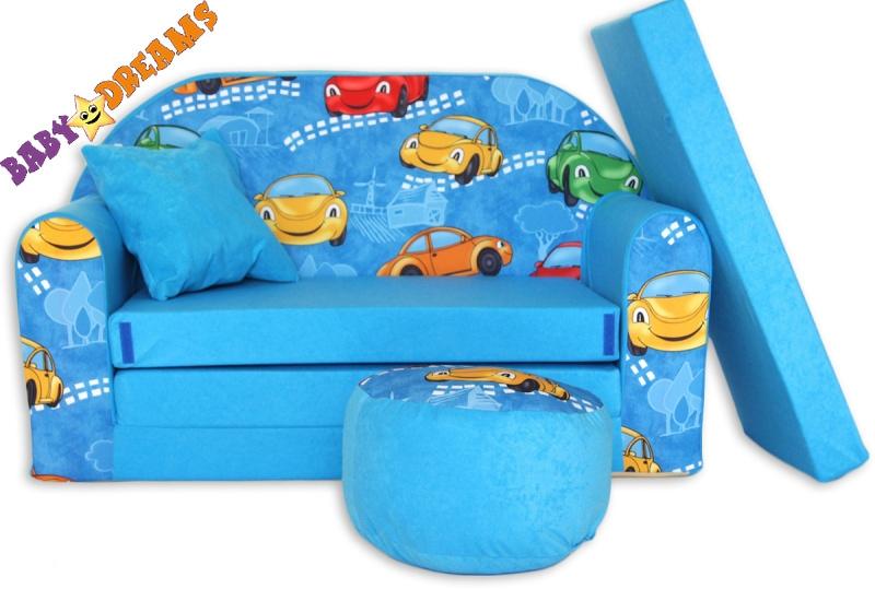 NELLYS Rozkládací dětská pohovka 02R - Autíčka v modré