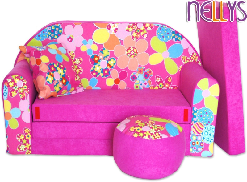 NELLYS Rozkládací dětská pohovka 04R - Květinky v růžové