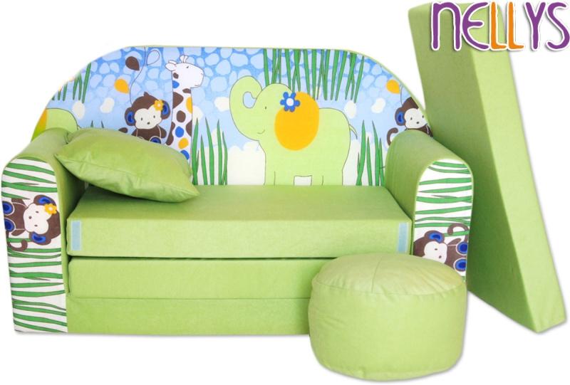 NELLYS Rozkládací dětská pohovka 06R - Slon zelený