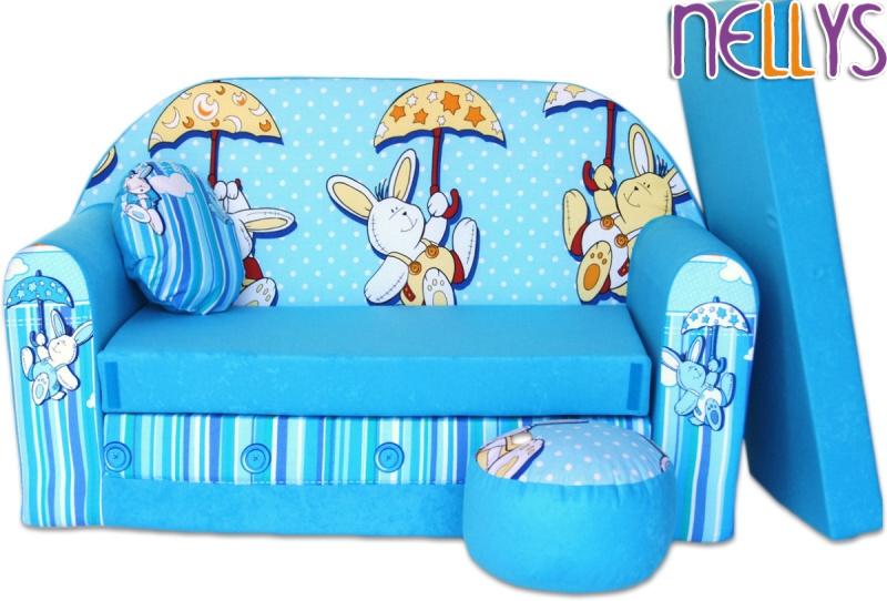 Rozkládací dětská pohovka 18R - Kralíčci, deštník v modré