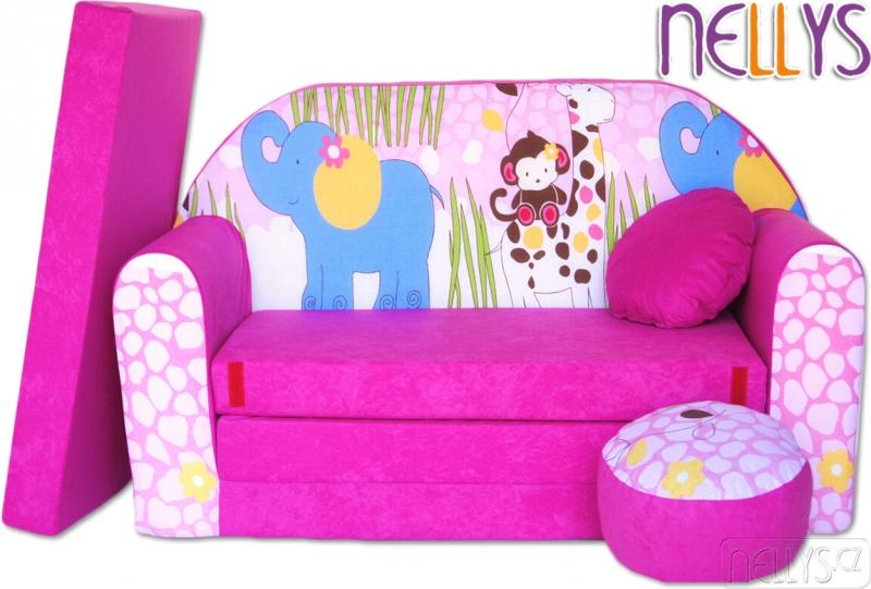 NELLYS Rozkládací dětská pohovka 23R - Slon v růžové