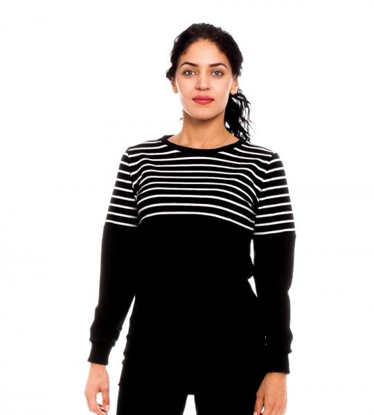 Be MaaMaa Těhotenské, kojící triko/mikina Clara, černé/bílé proužky, vel. M, Velikost: M (38)