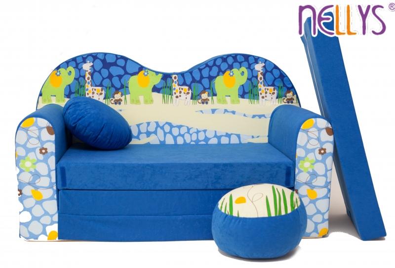 NELLYS Rozkládací dětská pohovka 02V - Safari v modré