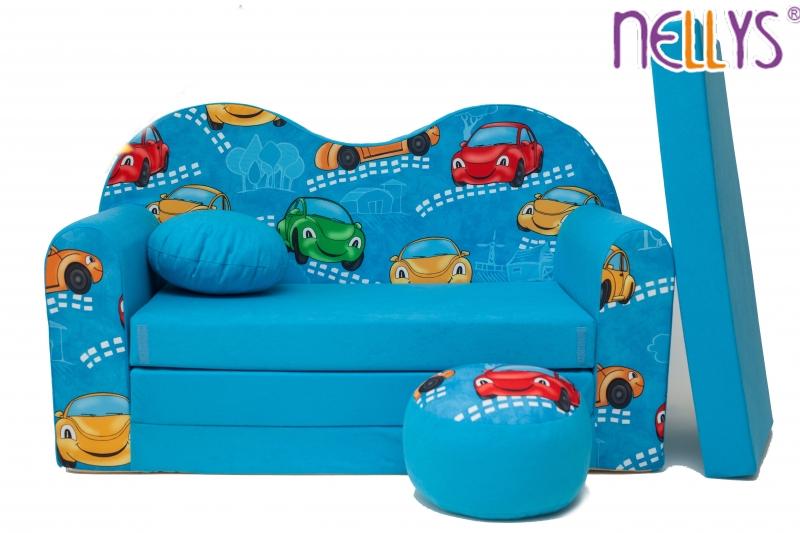 NELLYS Rozkládací dětská pohovka 05V - Auta v modré