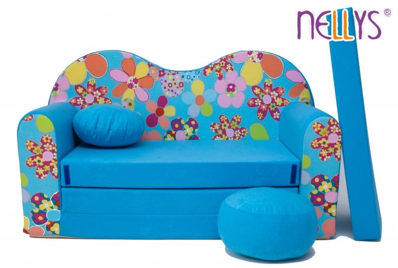 Rozkládací dětská pohovka 09V - Květinky v modré