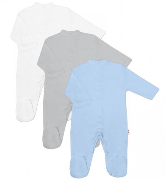 Baby Nellys Kojenecká chlapecká sada overálů BASIC - modrá, šedá, bílá - 3 ks